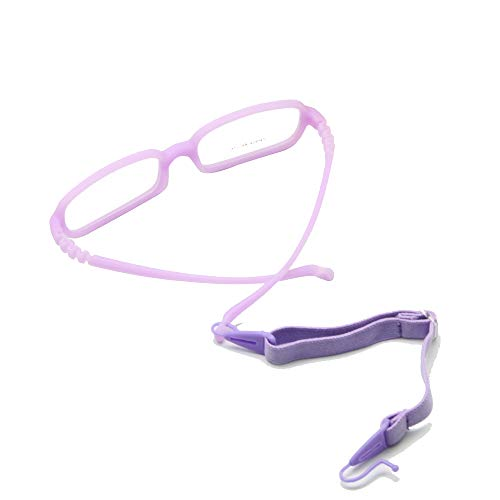 EnzoDate Kinder Brillengestell mit Gurt Größe 48, einteilige Kinderbrille mit Kordel, keine Schraube Flexible Mädchen Jungen Brille (lila) (Flexible Brillengestelle)