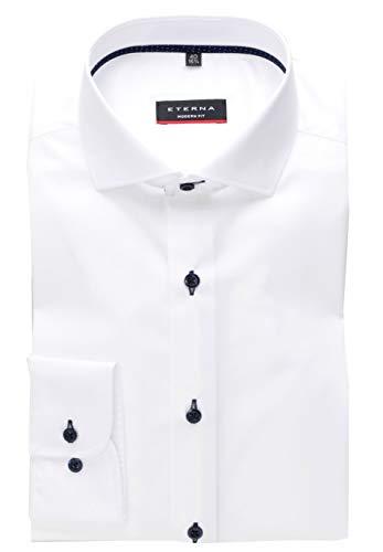 eterna Herren Langarmhemd Business-Hemd Modern Fit Kent-Kragen Unifarben mit schmalen Patchstreifen und Stretchanteil (43, Weiß)