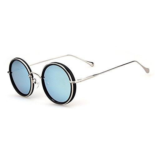Ppy778 Damen-Flieger-Sonnenbrille, Klassische polarisierte Fahrbrille, Vintage Round Frame Design (Color : Silver)