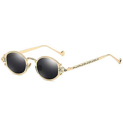 Sonnenbrillen für Frauen-Street New Brillen Retro Steampunk Sonnenbrillen Gothic Oval Frame Carved Sonnenbrillen Gold Frame schwarz graue Linse