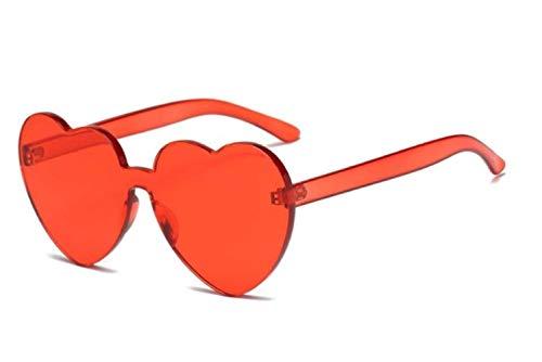 CNSP Brillen,Vintage Sonnenbrillen,Sunglasses Women 2019 New Colorful Fashion cute sexy retro Love Heart Rimless Eyewear Candy Color,Red