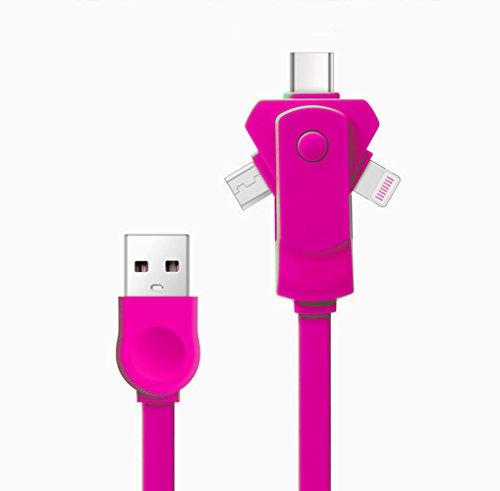 [Version la plus récente] Câble chargeur USB multiple, SMTR 3 en 1 360 adaptateur rotatif Micro adaptateur rotatif gratuit avec connecteur 8 broches / USB C / Micro USB / Mini ports USB pour iPhone 7 7plus SE 4s 5 6 6s Plus iPad, Samsung, Huawei, Xiaomi, Meizu, ZTE, Lenovo, LG, Zenfone et un autre téléphone Android(rose)