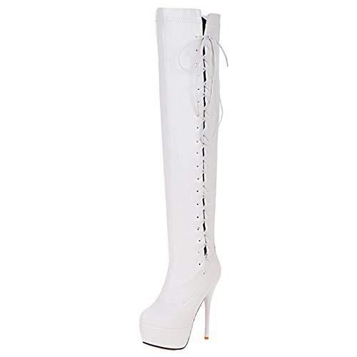 High Heels Schnürstiefel Kniehoch Damen Stiletto Overknee Stiefel mit Schnürung Overkneestiefel Plateau Damenstiefel Langschaft Boots Weiß 40EU -