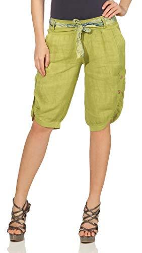 Mississhop 281 Damen Capri 100% Leinen Bermuda lockere Kurze Hose Freizeithose Shorts mit Gürtel und Knöpfen Kiwi XL Crop Capri-jeans