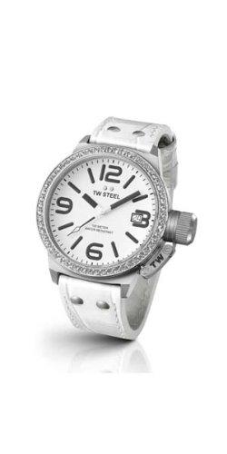 TW Steel - TW-35 - Montre Femme - Quartz Analogique - Bracelet Cuir Blanc