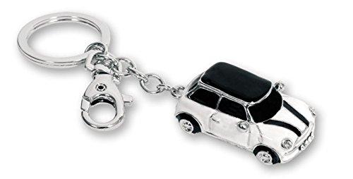 Mini Llavero de Metal con argolla y mosquetón con Brillantes Decorativos. Azul, Rojo, Negro o Blanco. 1 Unidad (Blanco)