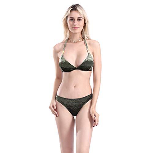 Damenschwimmbekleidung Bikini, Split Solid Color Velvet Lace-Up Swimsuit Two-Piece Set,2,L Lace-up Velvet