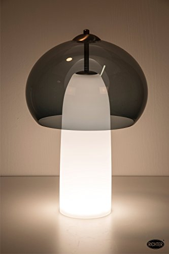 LED Tischleuchte, Stehleuchte, Bubble 3 Pela klein, anthrazit-transluzenter Schirm mit weißem Fuß, modern, postmodern Retro, Höhe 450mm, Durchmesser 280mm