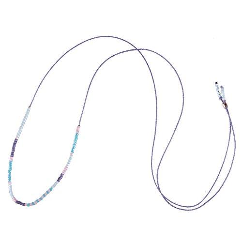 KELITCH Kette Damen Ohne Anhänger Damen Herren Dünn Seil Rocailles Perlen Kordel Halskette Freundschaftskette - Blau -