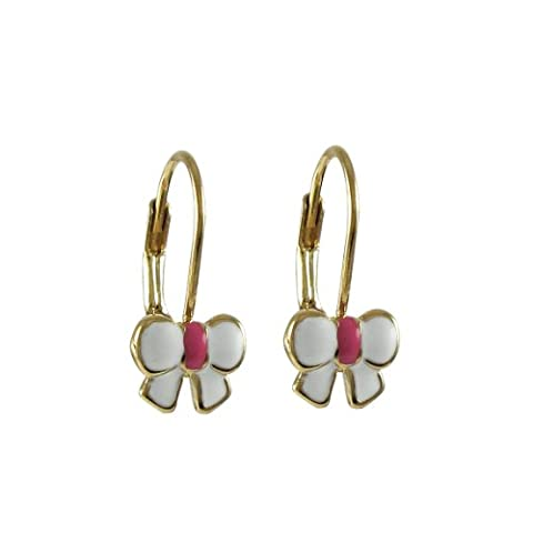 Kleine Schätze - Weiß Rosa Emaille Bogen -Vergoldet Zirkonia Ohrringe-17m