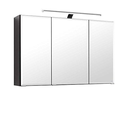 Pharao24 3D Spiegelschrank in Anthrazit 100 cm breit -