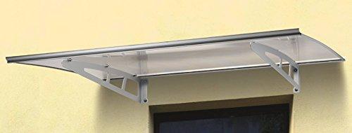 Garden friend pensilina da esterno, in alluminio sun con supporto grigio e copertura in policarbonato trasparente, misure p. 100 l. 140 -