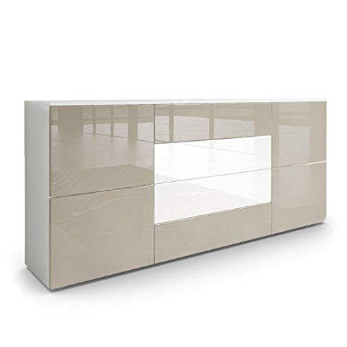#Sideboard Kommode Rova, Korpus in Weiß matt / Fronten in Sandgrau Hochglanz und Weiß Hochglanz#