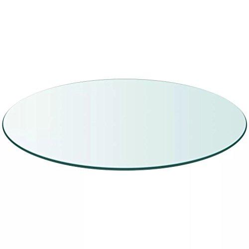 Festnight- Glas Tischplatte Rund ? 90cm Glasplatte Ersatzteil Tischplatte aus GEH?rtetem Glas Transparent 8mm -