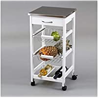 Closet, Carrellino da cucina con ruote e 2 cetselli in acciaio Inox, 76x37x37cm, Bianco (weiß)