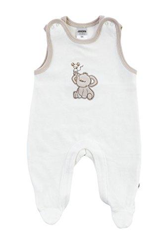 Jacky unisex Baby Strampelanzug, Nickistoff 80% Baumwolle, Off White/Beige, Jacky Elephant, Gr. 44, 224100