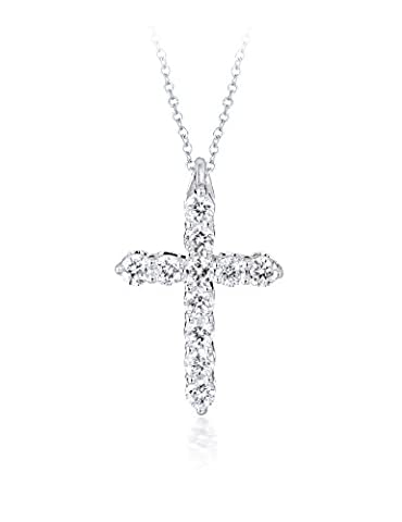 Diamond Studs Forever - 1/4 Carat Total Weight Diamond Cross Pendant With Chain IGI USA Certified GH/I1 14K White Gold