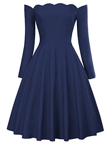 Belle Poque 50s Vintage Retro Bandeau Off Shoulder Navyblau Partykleid Strandkleid Größe L BP485-4 (Belle-kleid Frauen Für)