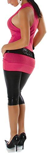 Jela London Damen Basic Longtop Tank-Top Stretch einfarbig ärmelloses Shirt Racerback (Einheitsgröße 32 34 36) Dark Pink