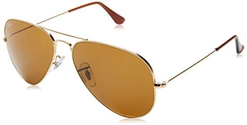 Ray-Ban Aviator Large Metal RB3025 C58 001/33 Sonnenbrillen, Medium: 58 mm, Gold / Crystal Brown