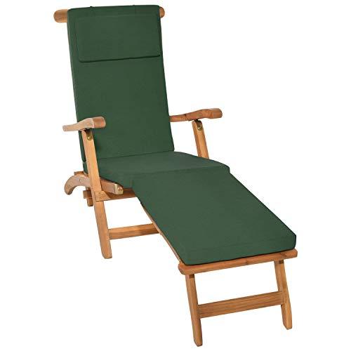 Beautissu Auflage für Deckchair LoftLux DC 175x45x5cm Luxus Polster-Auflage Liege-Stuhl - Bezug Abnehmbar Dunkel-Grün in verschiedenen Farben erhältlich