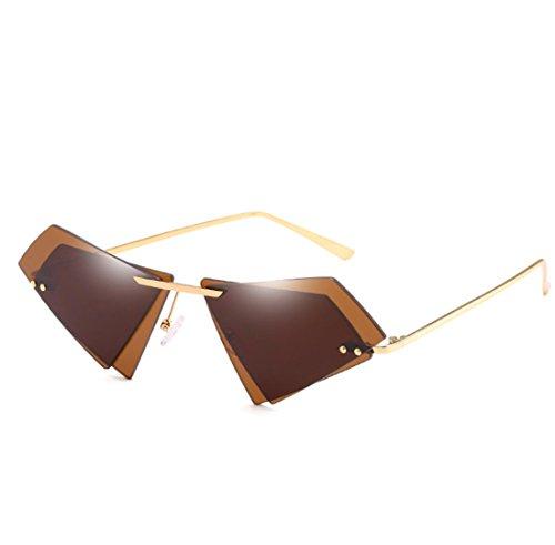 QQBL Damen-Mode Doppel-Linse Katzenauge Ozean Scheibe Ohne Rahmen Helle Farbe Spiegel Metall Pc Sichtbares Licht Perspektive 99,9 (%) UV400 Sonnenbrille,Brown