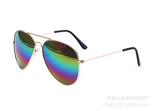 Wer Bin Ich Frau Männliche Frosch Mehrfarbenweinlese-Sonnenbrille Metallrahmen,Multicolored