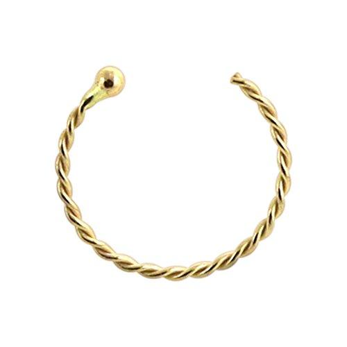 9K Gelb Gold 22 Gauge - 8MM Durchmesser kontinuierliche Twister mit Ball Ende offen Hoop Nasenring Nase Piercing (Nasen-ring Gold 22)
