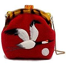 Ysting Unique felt bag-Red-crowned Crane. Handmade Handbag.handbags felt tote bag. bag of wool.