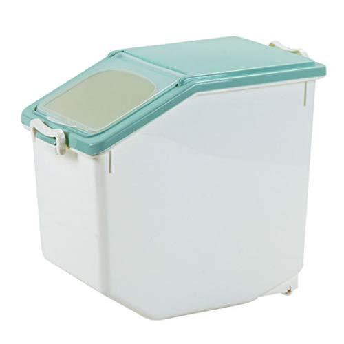 HYZH 20 L Reis Box Vorratsbehälter Aufbewahrungsboxen Reis Eimer Haushalt Küche Getreide Lebensmittel Feuchtigkeitsdichten Reisschüssel Mit Messbecher-Hellgrün