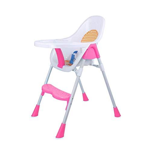 Hohe Dining Chair (MUTANG Umweltfreundlicher Rattan Baby Dining Chair Multifunktions-Kinderessstuhl Hoher Hocker, verstellbar, abnehmbare Platte, atmungsaktiver Kindersitz mit verstellbarem Pedal (Color : Pink))
