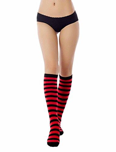 iB-iP Damen Zebra Stripe Candy Farben Lange Lagerung Kniehohe Knee-High Socken, Rot (High Knee Socken Stripe)