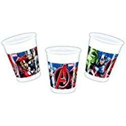 Procos 86665 – Vasos Plástico Marvel Avengers Power, 200 ml, 8 unidades, multicolor.