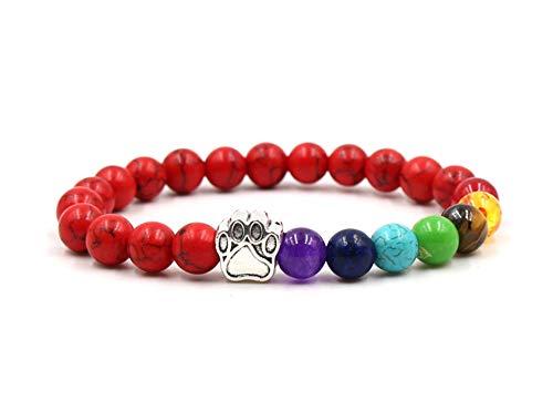 ZGRJIUERYI Steinarmband,Naturstein Perlen Armband, Bunte Chakra Yoga Perlen Elastische Armband Red Pine Dog Paw Print Armband, Personalisierte Kleidung Accessoires Schmuck