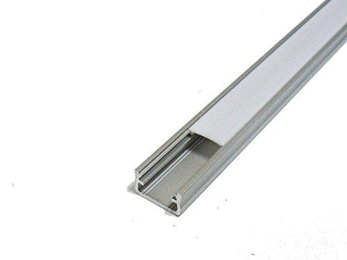 SET: LED Profil, 100cm Profil LED für LED Streifen, aluminium led profilel + Abdeckung (Milchig) LT4