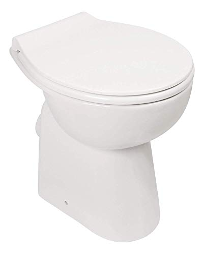 AQUASU Stand WC spülrandlos mit +7 cm Erhöhung, Komplett-Set mit Toilettendeckel mit Absenkautomatik, Tiefspüler mit waagerechtem Abgang, erhöhte Toilette ohne Spülrand, Komfort WC Weiß, 57227 9
