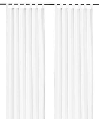 heimtexland ® Dekoschal mit Schlaufen und Kräuselband uni in weiß HxB 175x140 cm BLICKDICHT aber Lichtdurchlässig - Vorhang natürlich matt einfarbig mit wunderschön leichtem Fall - Schlaufenschal Bandschal ÖKOTEX Gardine Typ117