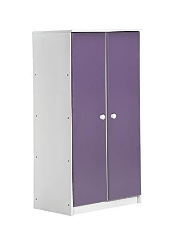 """Design Vicenza """"Avola"""" Zwei Tür Schrank, Holz, Weiß mit Lila Details"""