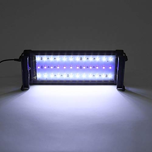 Deckey Aquarium Beleuchtung LED Aquariumlampen Aufsetzleuchte Aquariumlicht Aquariumleuchten Alulegierung 24 Weiß+12 Blau 30cm