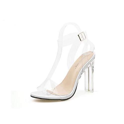 Damen-Kleiderschuhe, 2019 Neue PVC-Frauen Sandalen Sexy Clear Transparent Ankle Strap High Heels Party Sandals Frauen Schuhe Größe 35-40,a,37