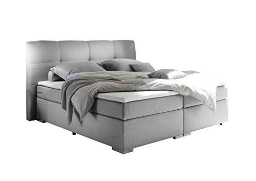 lifestyle4living Boxspringbett 180x200, hellgrau, Stoff | Entspannter schlafen auf dem modernen Doppelbett komplett mit Kopfteil und Topper