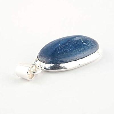 Pendentif de cristal Kyanite bleu serti d'argent 925, 27x20x5 mm ca.