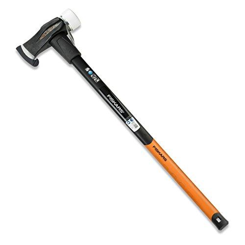 Fiskars Spalthammer (geschmiedet), 2 in 1: Axt und Hammer, Gewicht: 3,9 kg, Gehärtete Stahl-Klinge/Glasfaserverstärkter Kunststoff-Griff, Schwarz/Orange, SAFE-T, X39, 1001703