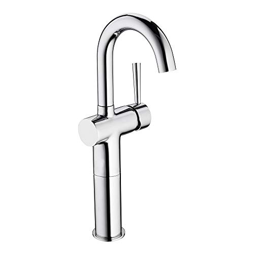Einhebelmischer Waschbecken Armatur hoch Waschtischarmatur Wasserhahn Bad chrom für Aufsatzbecken oder Waschschale mit hohem Rundbogenauslauf inkl. Anschlussschläuchen und Befestigungsmaterial