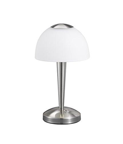 Trio Leuchten LED-Tischleuchte in Nickel matt, Glas weiß satiniert, Touche-Dimmer mit 3 Helligkeitsstufen, inklusive 1 x 5W LED, Höhe - 28 cm 529990107