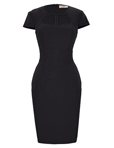 GRACE KARIN 50er Jahre Kleider festlich Rockabilly Kleid Vintage Retro bleistiftkleid schwarz etuikleid CL8947-1 XL