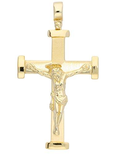 MyGold Kreuz-Anhänger (ohne Kette) Gelbgold 585 Gold (14 Karat) massiv 50mm x 27mm Korpus Inri Goldkreuz groß Goldanhänger Herrenanhänger Herrenschmuck Herrenkette Kreuzkette Oirase V0001558