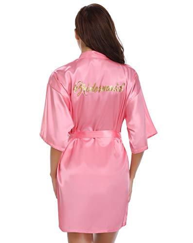Vlazom Damen Satin Bademantel Kurz Kimono für Braut & Brautjungfer Hochzeit Party Robe mit Gold Glitter oder Strass - - Large -