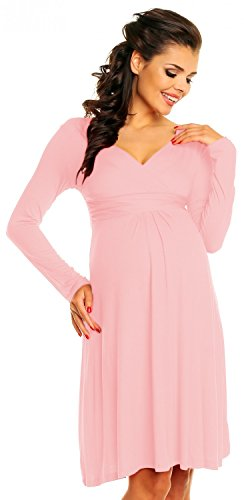 *Zeta Ville – Damen – Umstandskleid Langarm – Cocktailkleid für Schwangere – 890c (Pulver Rosa, EU 44, 2XL)*
