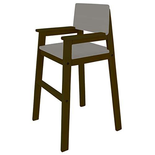 MADYES Kinderstuhl Hochstuhl Massivholz Buche Farbe PALISANDER/Grau Treppenhochstuhl Buche für Esstisch, Kinderhochstuhl für Kinder, stabil & pflegeleicht viele Farben möglich